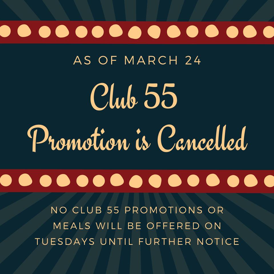 Casinos suspend Club 55 effective March 24th