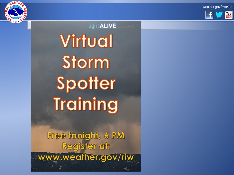 Free Storm Spotter Training set for Tonight by NWS