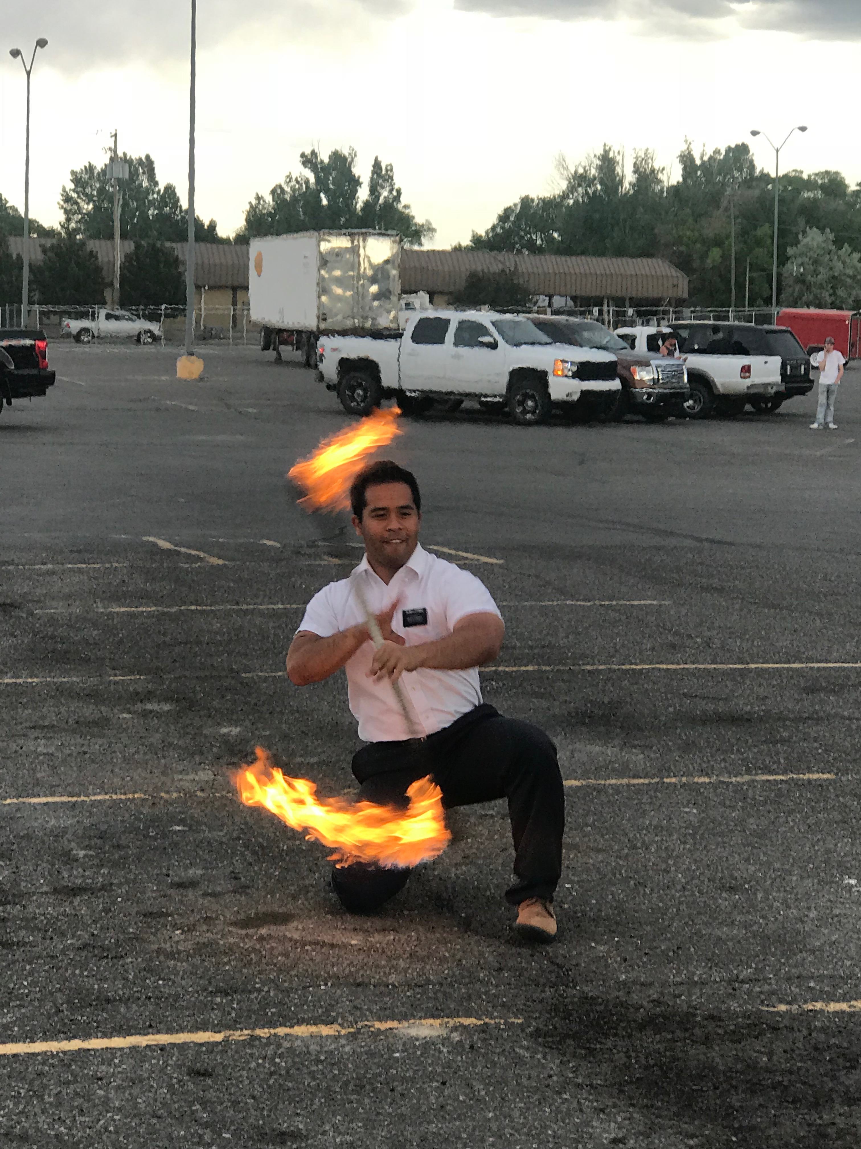 Fire Twirler entertained Drive By Fishing crowd