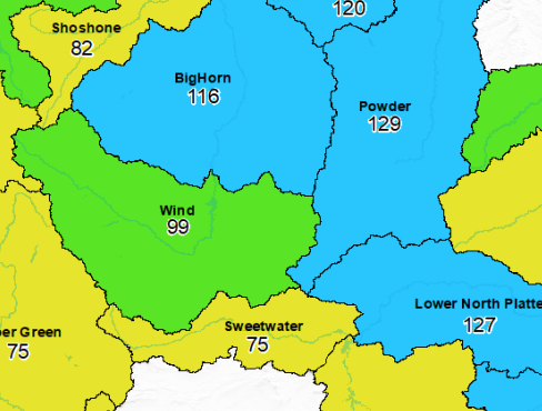 Wind River Range now up to 99 percent of the median snowpack; Bighorns at 114